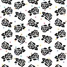 Polka Dot Roses in Black by istaria