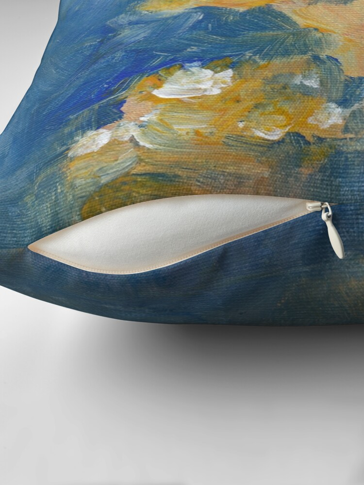 Alternate view of Abstract Flowers Painting  Throw Pillow