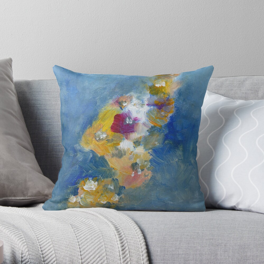 Abstract Flowers Painting  Throw Pillow