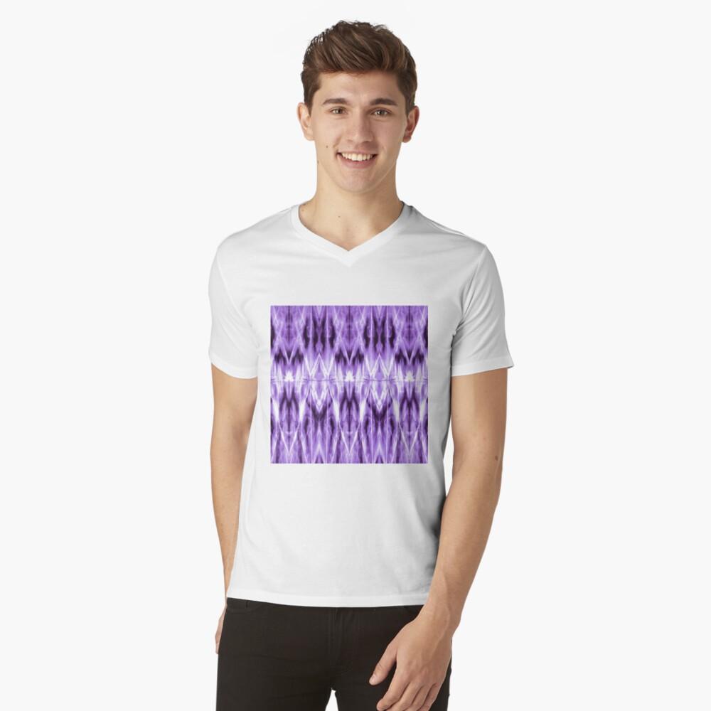 Purple Argyle Shibori V-Neck T-Shirt