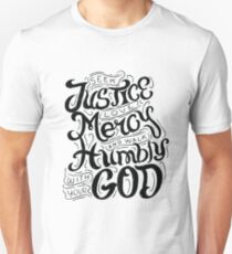 Seek Justice Love Mercy Walk Humbly with God Christian  T-Shirt