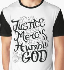 Seek Justice Love Mercy Walk Humbly with God Christian  Graphic T-Shirt