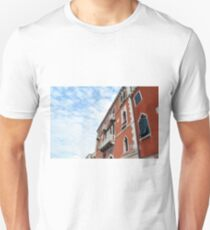 Red Venetian building facades with white decorations  T-Shirt