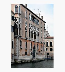 Venetian building near the water with typical decorative elements  Photographic Print