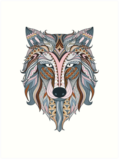 Boho Mandala Ornamental Wolf Indian Art Art Prints By Inkwear