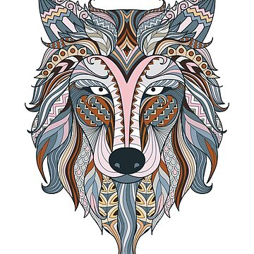 Boho Mandala Ornamental Wolf Indian Art by inkwear