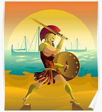 trojan warrior in beach near trireme greek ships Poster