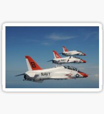 U.S. Navy T-45 Goshawk training aircraft fly in formation. Sticker