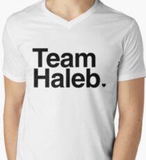 Team Haleb - black text Men's V-Neck T-Shirt