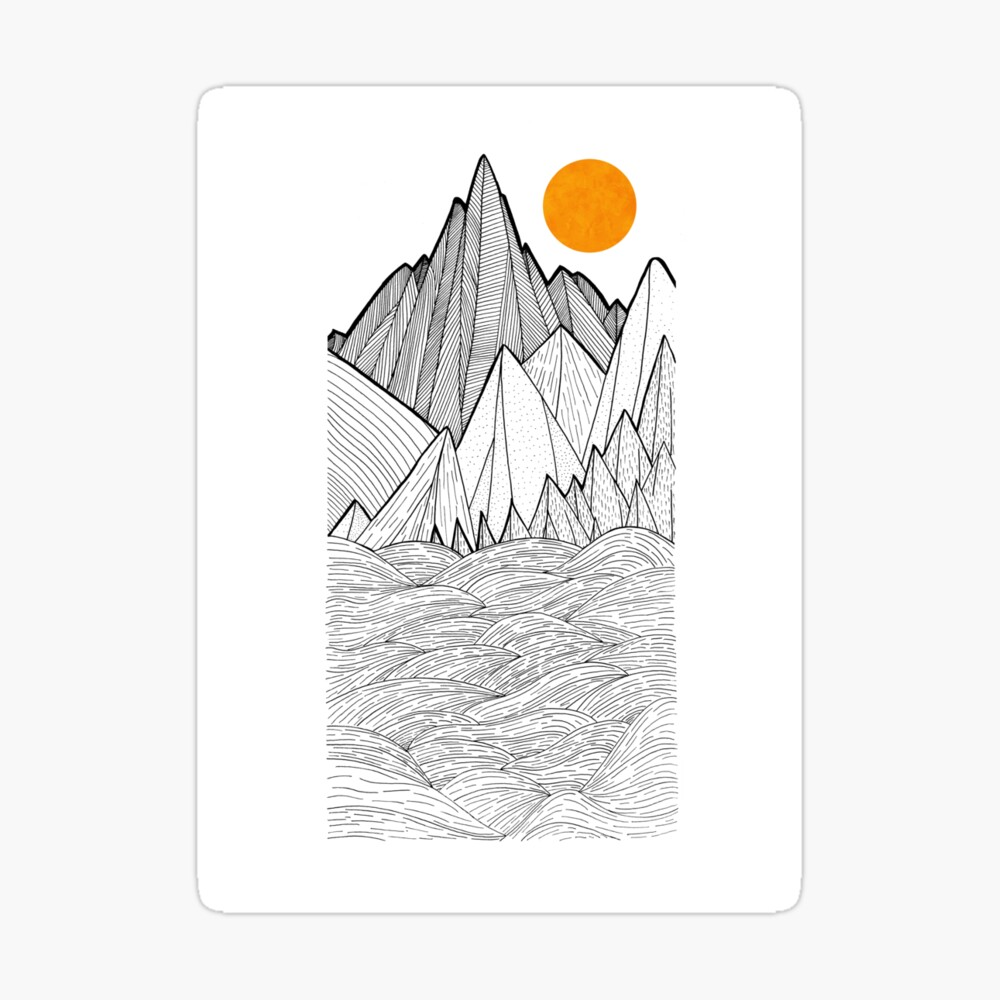 The mountains and the sea under the sun Sticker