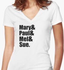 Mary & Paul & Mel & Sue. Women's Fitted V-Neck T-Shirt