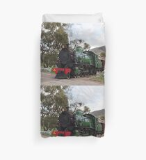 Steam train engine at railway crossing Duvet Cover