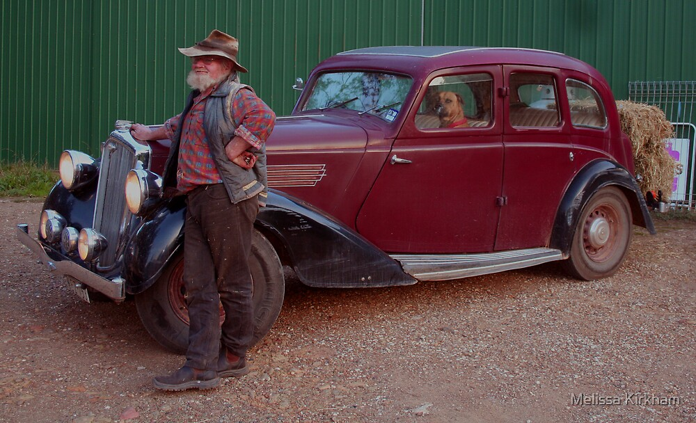 A Man his dog and his car by Melissa Kirkham