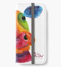 Nosey Cow ' Mr Hippy ' by Shirley MacArthur iPhone Wallet