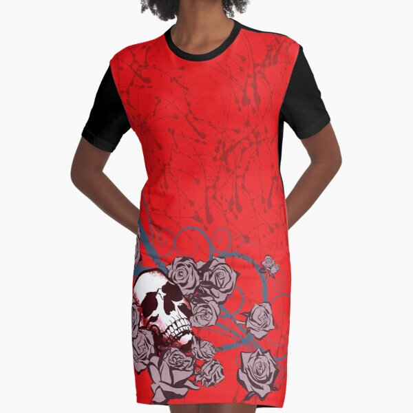 Roses and Skull Graphic T-Shirt Dress