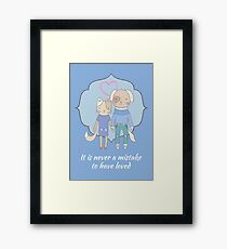Love is never a mistake (cat and dog) Framed Print