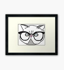 Cat With Glasses Kitty Illustrated Grumpy Face Framed Print