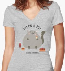Cat on a diet Women's Fitted V-Neck T-Shirt