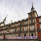 Love Message on Plaza Mayor in Madrid Spain by Georgia Mizuleva