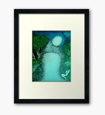White Cat In the Moon-lite by a Waterfall Framed Print