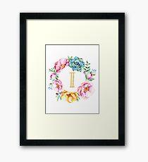 Watercolour floral initial wreath Framed Print