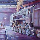 British Railways Standard 9F on Saltley turntable. by Mike Jeffries