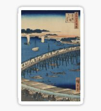 Ryogoku Bridge and the great riverbank - Hiroshige Ando - 1856 Sticker