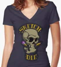 Sketch or die Women's Fitted V-Neck T-Shirt