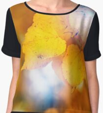 Fall concept, close up of yellow leaves Women's Chiffon Top