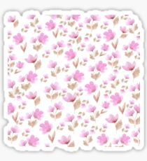 Girly blush pink brown watercolor hand painted floral pattern Sticker
