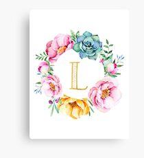 Watercolour floral initial wreath Canvas Print