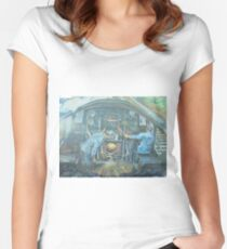 On the footplate of a Castle class locomotive. Women's Fitted Scoop T-Shirt