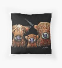Scottish Highland Cows 'WE 3 COOS on BLACK' by Shirley MacArthur Throw Pillow