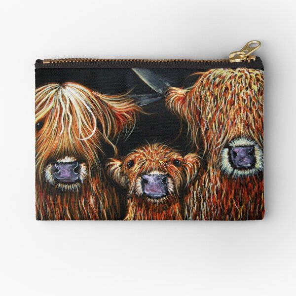 Scottish Highland Cows 'WE 3 COOS on BLACK' by Shirley MacArthur Zipper Pouch
