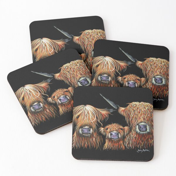 Scottish Highland Cows 'WE 3 COOS on BLACK' by Shirley MacArthur Coasters (Set of 4)