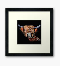 Scottish Highland Cow 'CHILLI PEPPER' by Shirley MacArthur Framed Print