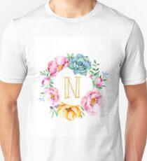 Watercolour floral initial wreath T-Shirt