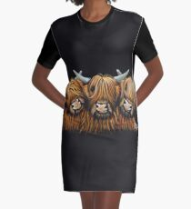 Scottish Highland Hairy Cows 'The Young Ones' by Shirley MacArthur Graphic T-Shirt Dress