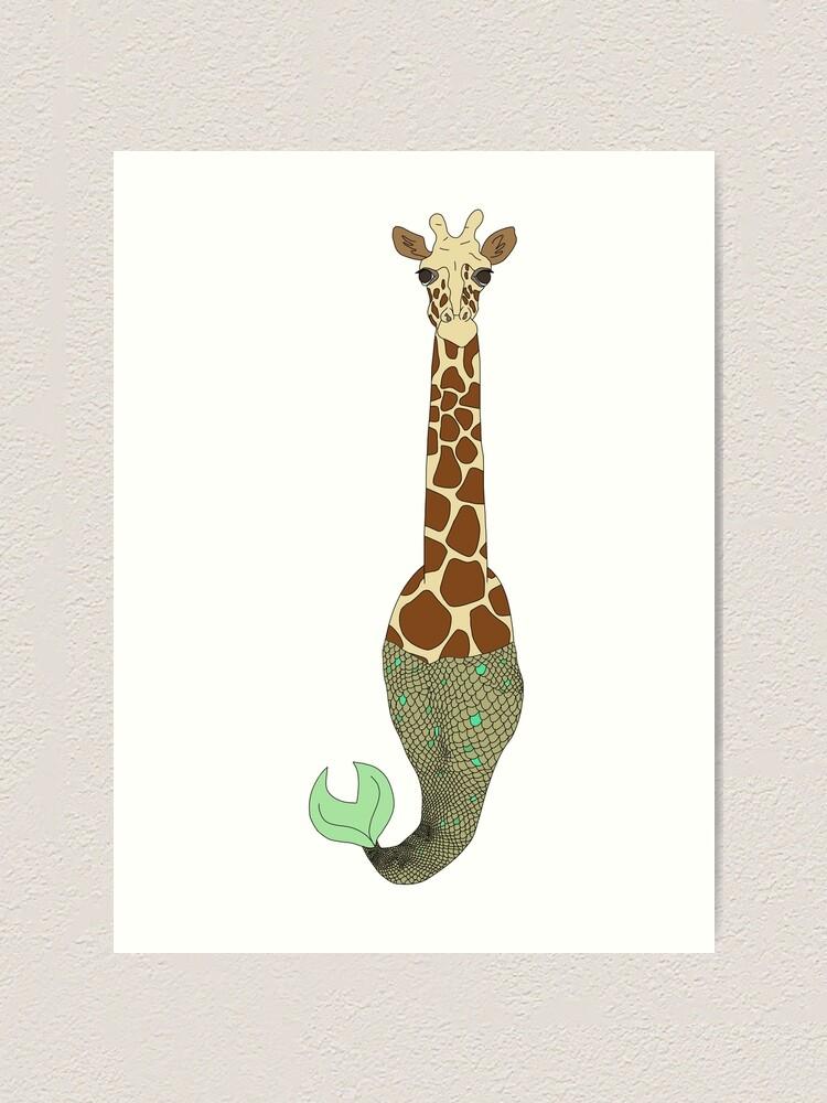 Alternate view of Mermaid Giraffe Art Print