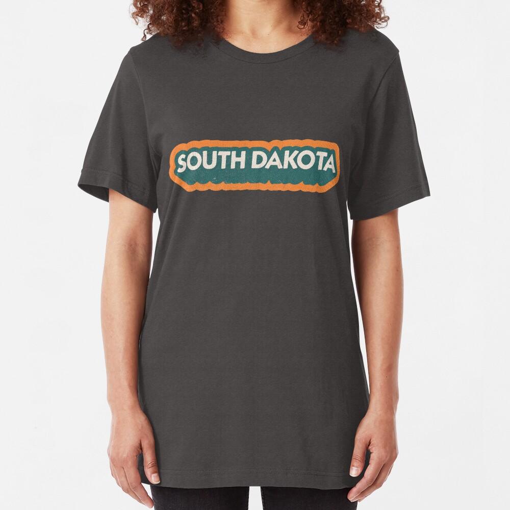South Dakota State Sticker   Retro Pop Slim Fit T-Shirt