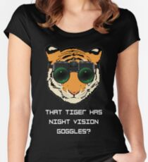 THAT TIGER HAS NIGHT VISION GOGGLES? - The Interview (Dark Background) Women's Fitted Scoop T-Shirt