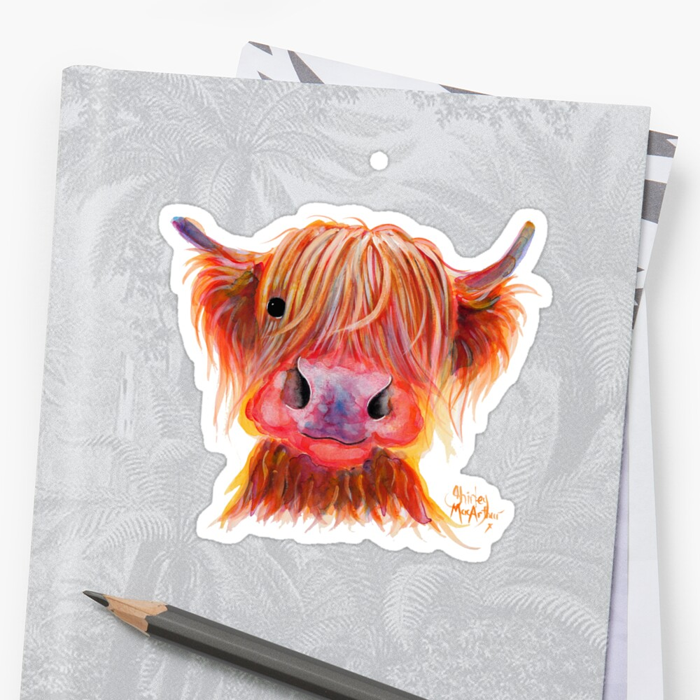Scottish Highland Hairy Cow ' CHILLI CHOPS ' by Shirley MacArthur Sticker