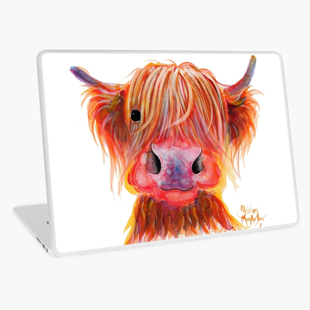 Scottish Highland Hairy Cow ' CHILLI CHOPS ' by Shirley MacArthur Laptop Skin