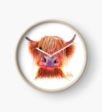 Scottish Highland Hairy Cow ' CHILLI CHOPS ' by Shirley MacArthur Clock