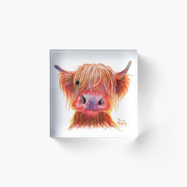 Scottish Highland Hairy Cow ' CHILLI CHOPS ' by Shirley MacArthur Acrylic Block