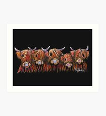 Scottish Highland Hairy Cows 'The Hairy Bunch of Coos' by Shirley MacArthur Art Print