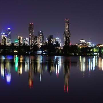 Melbourne city skyline reflection at night by andiemeganb
