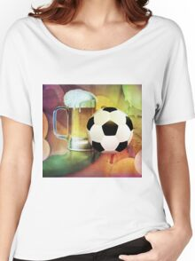 Beer Glass and Soccer Ball Women's Relaxed Fit T-Shirt