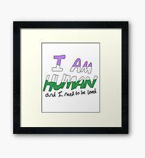 I Am Human - Genderqueer Pride Framed Print