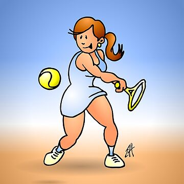 Tennis girl hitting a backhand by cardvibes